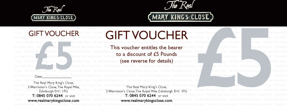 Real Mary Kings Close gift voucher - five pounds