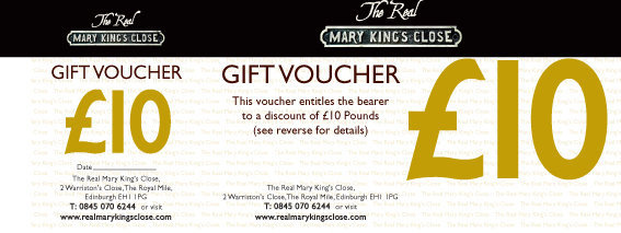 Real Mary Kings Close gift voucher - ten pounds