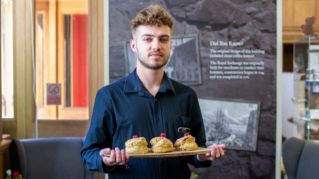 Café staff with best scones in Edinburgh at The Real Mary King's Close