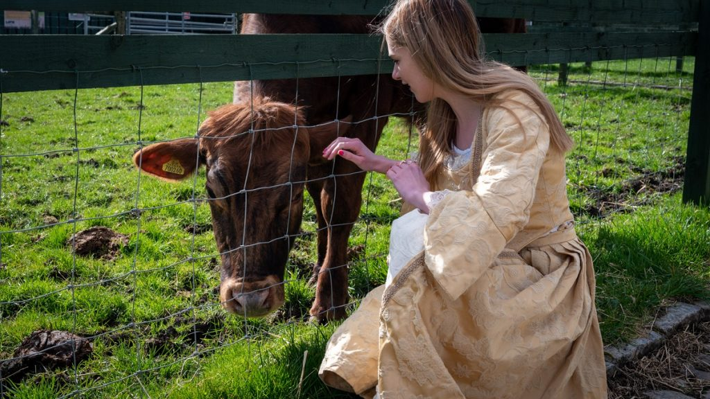 Mary King with Cows at LOVE Gorgie Farm
